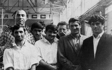 Легендарные борцы Осетии (слева направо): Юрий КИШИЕВ, Люберт ДЖИОЕВ, Елкан ТЕДЕЕВ, Нугзар ЖУРУЛИ, Лазарь ХАЕВ, Сократ КАСОЕВ.