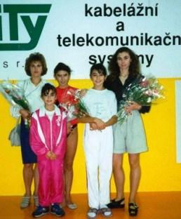 Что ни имя, то явление в спорте. Слева направо: А. КОШЕЛЕВА, З. ГИЗИКОВА, И. ГИЗИКОВА, А. ГИЗИКОВА, А. ИВАНОВА на международном турнире в Чехии.
